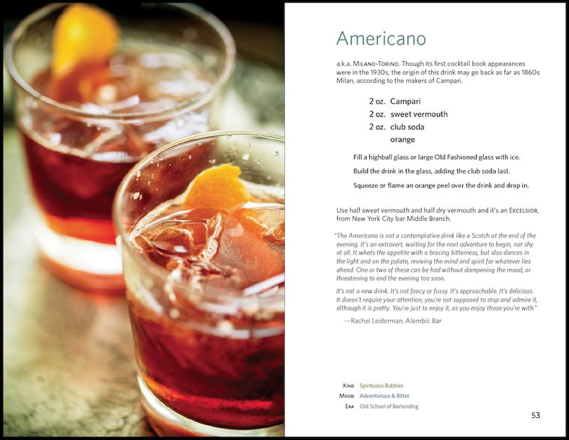 sample recipe spread from The Art of the Shim for the Americano cocktail